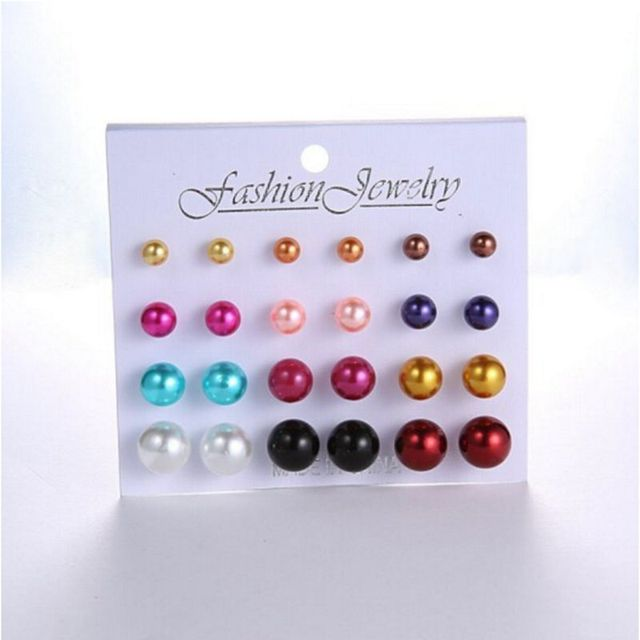 12 pairs/set White Simulated Pearl Stud Earrings Set For Women Jewelry Accessories Piercing Ball Earrings kit Bijouteria brincos