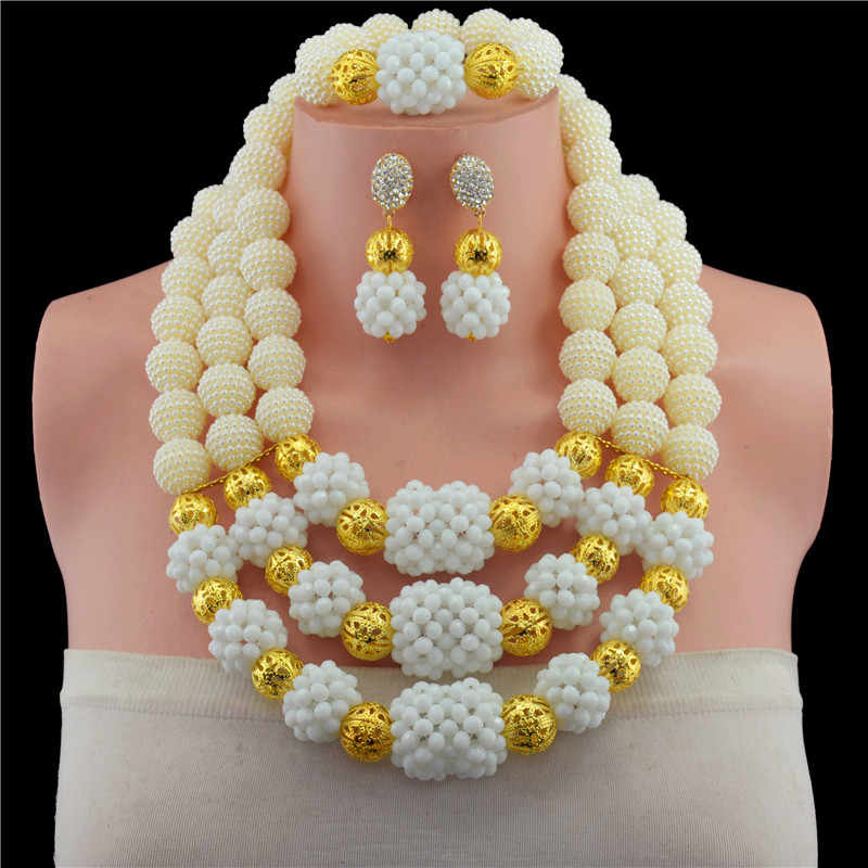 2017 New Nigerian Wedding Jewelry Sets Indian Bride Accessories Gold-color Ball Choker Necklace African Beads Jewelry Sets