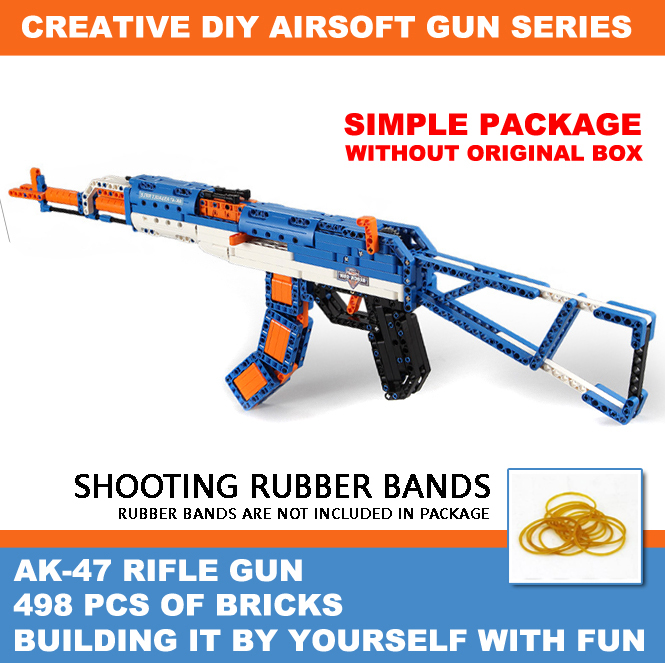 Building Blocks Guns,Rubber Band Shooting Gun,DIY Building Air-soft Gun Toys for Kids,AK-47 Rifle Model,(No Original Box)