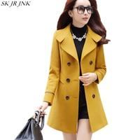 2017 New Women Autumn Winter Wool Blend Warm Long Coat Slim Fit Lapel Cocoon Woolen Overcoat