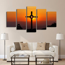 Canvas Modern HD Printed Art Paintings Modular 5 Panel Christ Belief Sunset Scenery Posters Tableau Wall Pictures Home Decor(China)