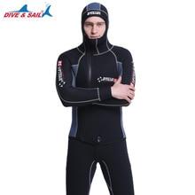 Livre o navio torussia duplo quente profissional 5mm 2 peças neoprene mergulho wetsuit com capuz zíper dividir caça submarina terno molhado