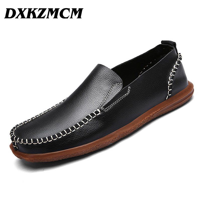 DXKZMCM Fashion Genuine Leather Slip On Men Shoes, Men Casual Shoes, Handmade Brand Leather Shoes Men dxkzmcm new men flats cow genuine leather slip on casual shoes men loafers moccasins sapatos men oxfords