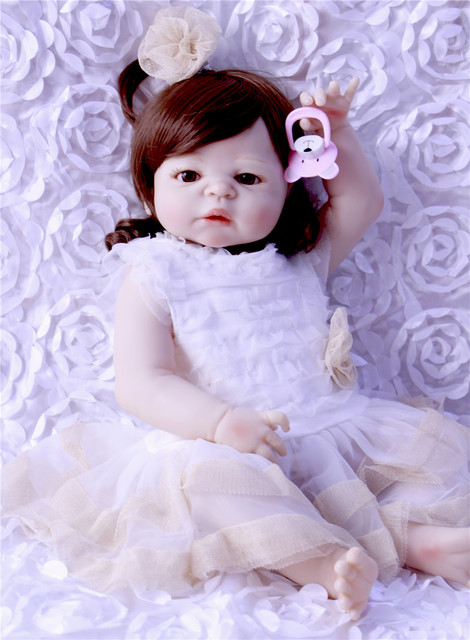 reborn girl dolls real full silicone baby dols 57cm brown curly hair