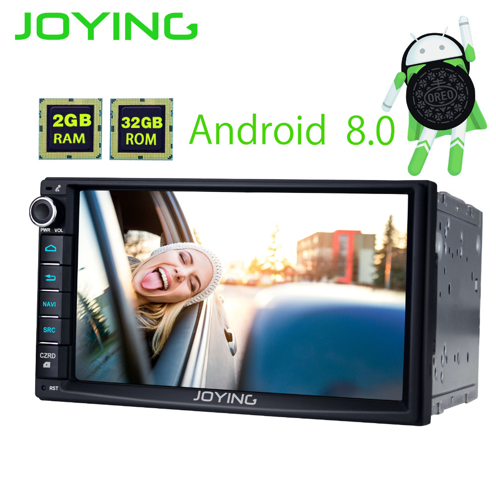 JOYING 2GB RAM Android 8.0 2 Din Tape recorder Stereo HD 7'' GPS Player BT Car Radio Octa 8 Core Head unit support apple-carplay
