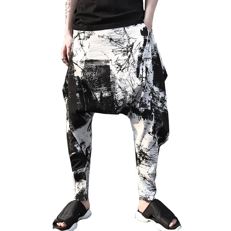 M-XL! Dark hair stylist harem pants ink print mens loose cotton and linen slacks 2018 High quality mens summer pants