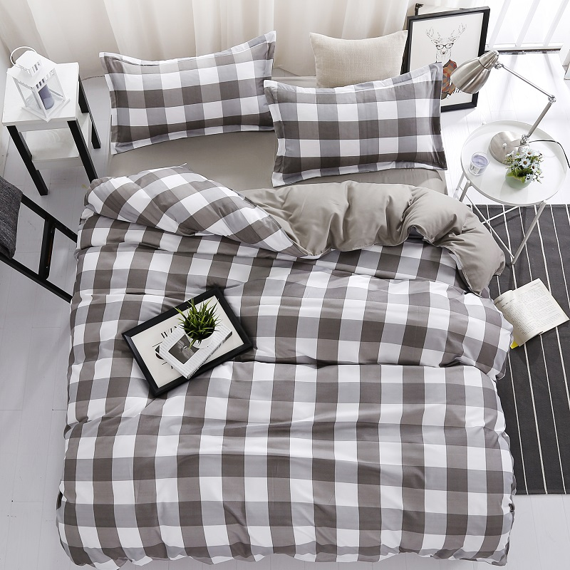 MECEROCK Polyester Priting Bedding Set Plaid Duvet Cover Flat Sheet Pillowcase Bed Linens Single Double Queen King Size Bedding