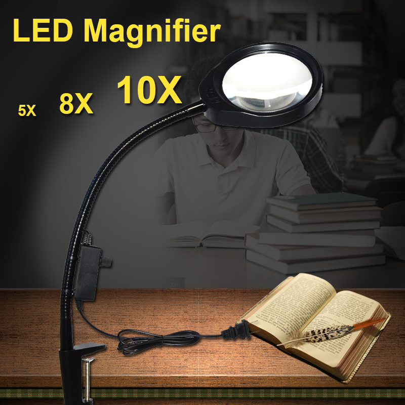 Standing Style Hands-free Loupe Flexible Magnifying Glass with LED Light Versatile 2 in 1 Lighted Magnifier Desk Lamp 5X 8X 10X