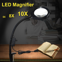 Standing Style Hands free Loupe Flexible Magnifying Glass with LED Light Versatile 2 in 1 Lighted Magnifier Desk Lamp 5X 8X 10X