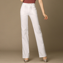 Брюки с высокой талией Женщины Широкие брюки ноги зашнуровать эластичный тонкий дышащий прямой женск