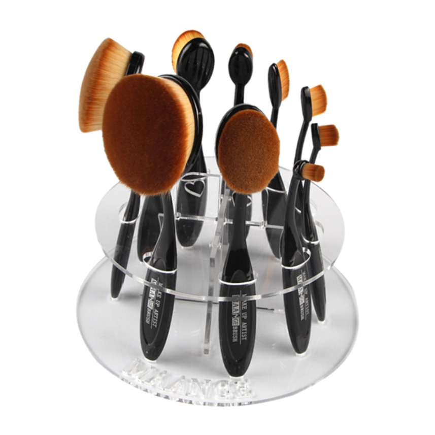 MAANGE Portable10 Hole Oval Clear Make-up Tools kwasten Holder Case Storage Nail Pen Brushes Container DROP SHIP HOT the cello guitar making special holder precision tools make gourmet 30p