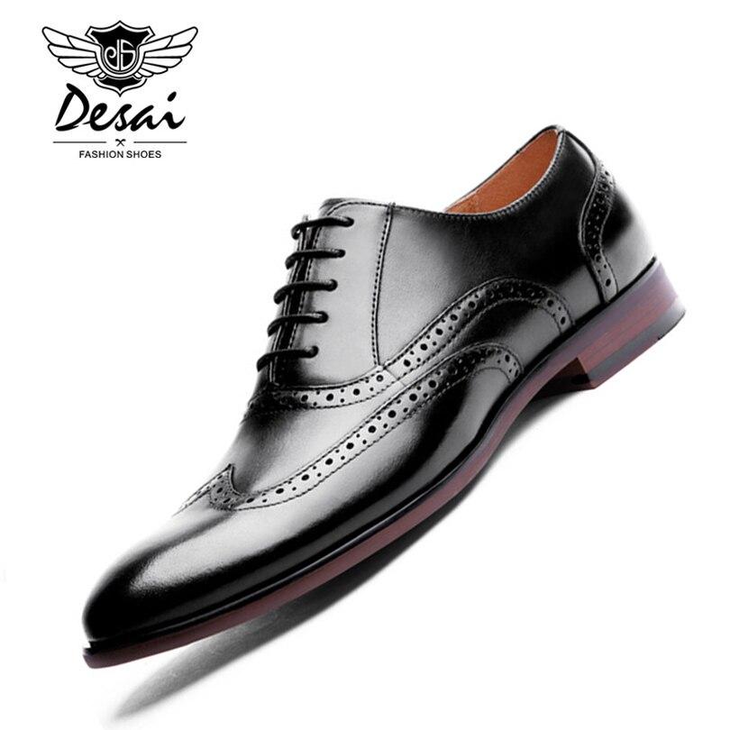 DESAI/Брендовые мужские туфли-оксфорды из кожи с натуральным лицевым покрытием в стиле ретро, с резным узором, в британском стиле, деловые мужс...