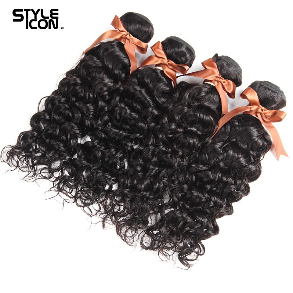 Peruvian Water Wave Bundles Styleicon 100% Human Hair 4 Bundles Weave Non Remy Hair Extensions Natural Color Free Shipping