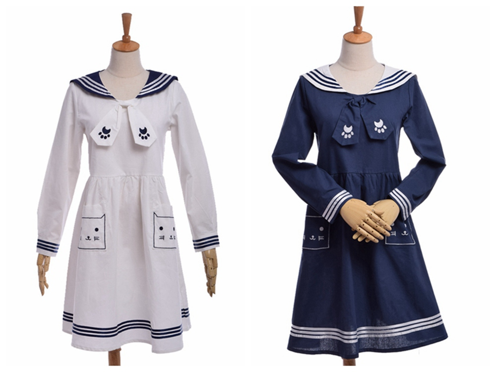 Harajuku Mori Girls Dress Sailor Collar Cute Cat Paw Embroidered Long Sleeve Casual Dress
