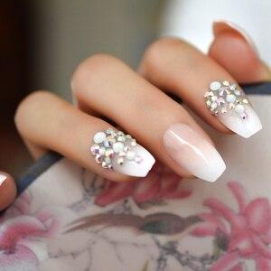3D блестящие розовые обнаженные французские балетки гроб накладные ногти Gradeint Natrual пресс на каждый день офисная одежда для пальцев УФ-ногти