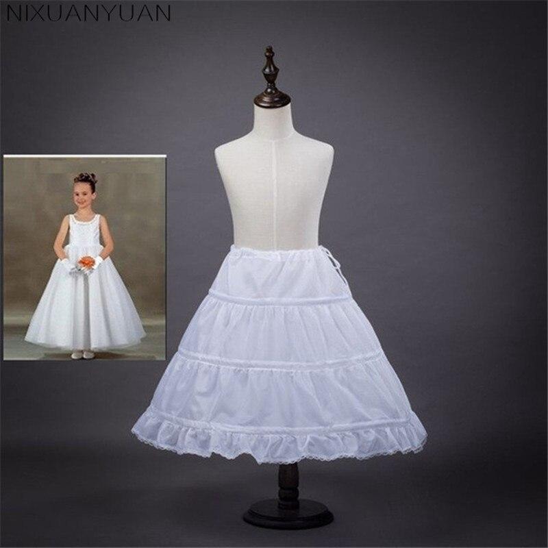In Stock Three Hoops One Layer Children Petticoat Kid Crinoline For Flower Girl Dresses White Black Red Little Girl Petticoat