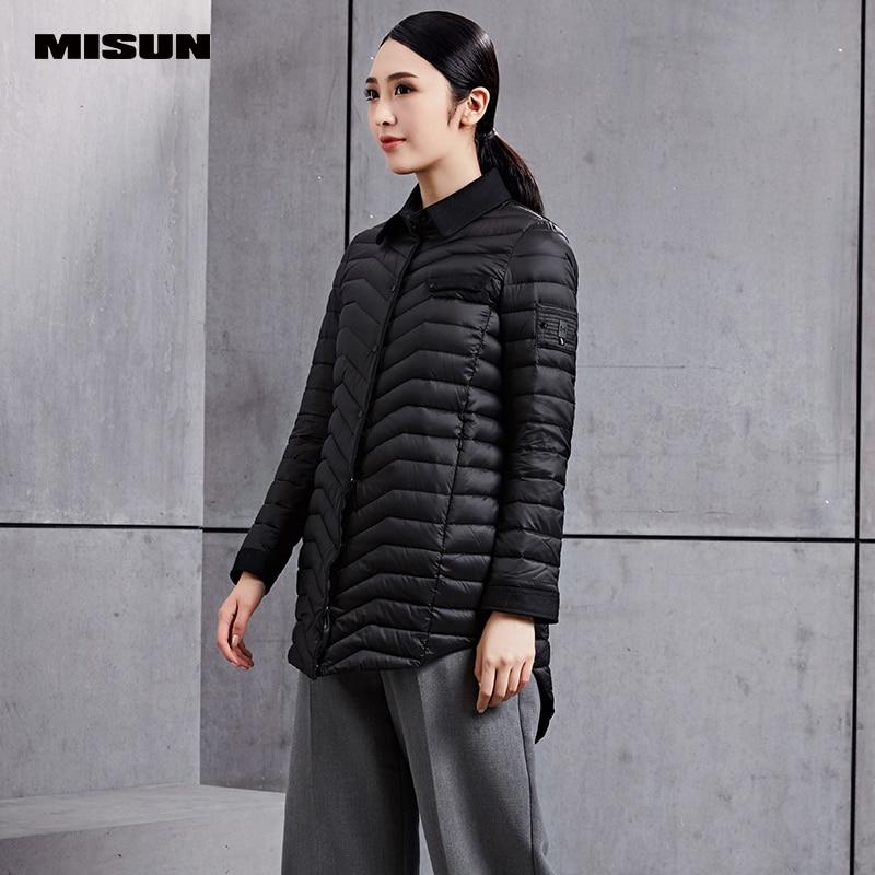 Manteau Hiver Section Zipper De Nouveau Femmes Black grey longue Féminine Misun Mode Patchwork Midq Automne Mince Duvet v374 Chemise Moyen 2017 Outwear AaIPwzqpp