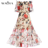 2017 Fashion Women Elegant Sweet Chiffon Printed Dress Stylish Sexy Slash Neck Slim Beach Summer Sundress