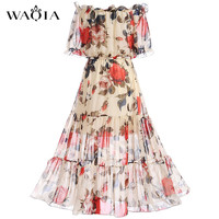 2017 Fashion Women Elegant Sweet Chiffon Printed Dress Stylish Sexy Slash Neck Slim Beach Summer Sundress
