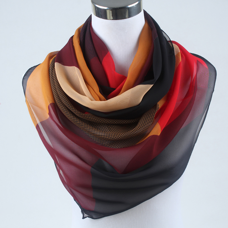 New Arrival 2019 Spring And Autumn Chiffon Women Scarf Polyester Geometric Pattern Design Long Soft Silk Shawl 004