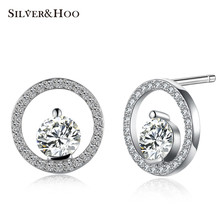 SILVERHOO Crystal Round Stud Earrings 925 Sterling Silver Crystal Fine Jewelry Female Lady Wedding Party Dress