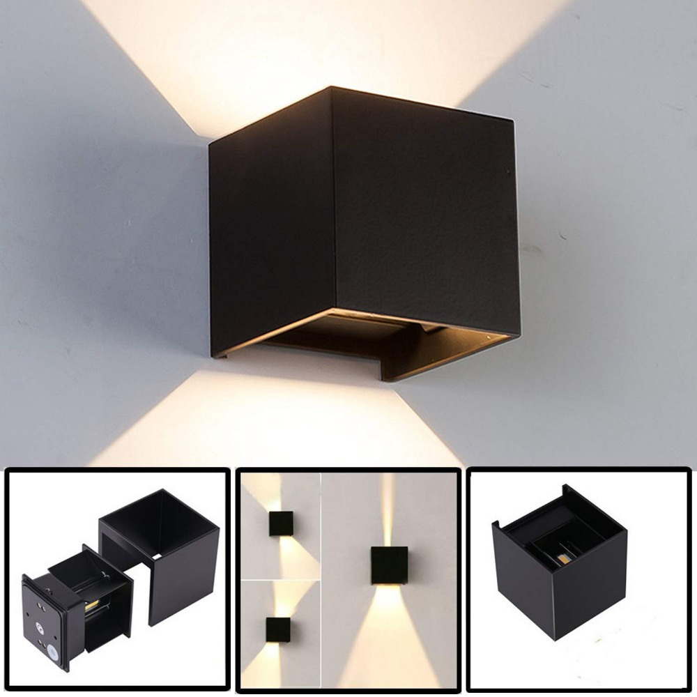 Dimmable LED Modern Wall Light With Adjustable Beam Angle Design,IP65 Waterproof Aluminum Mounted Simple Square LED Wall Lamp