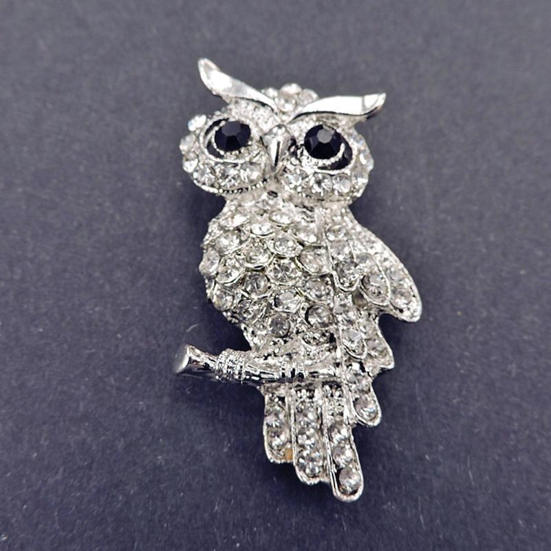 ✓Moda búho estilo brillante cristal inlay señora joyas rhinestone ...
