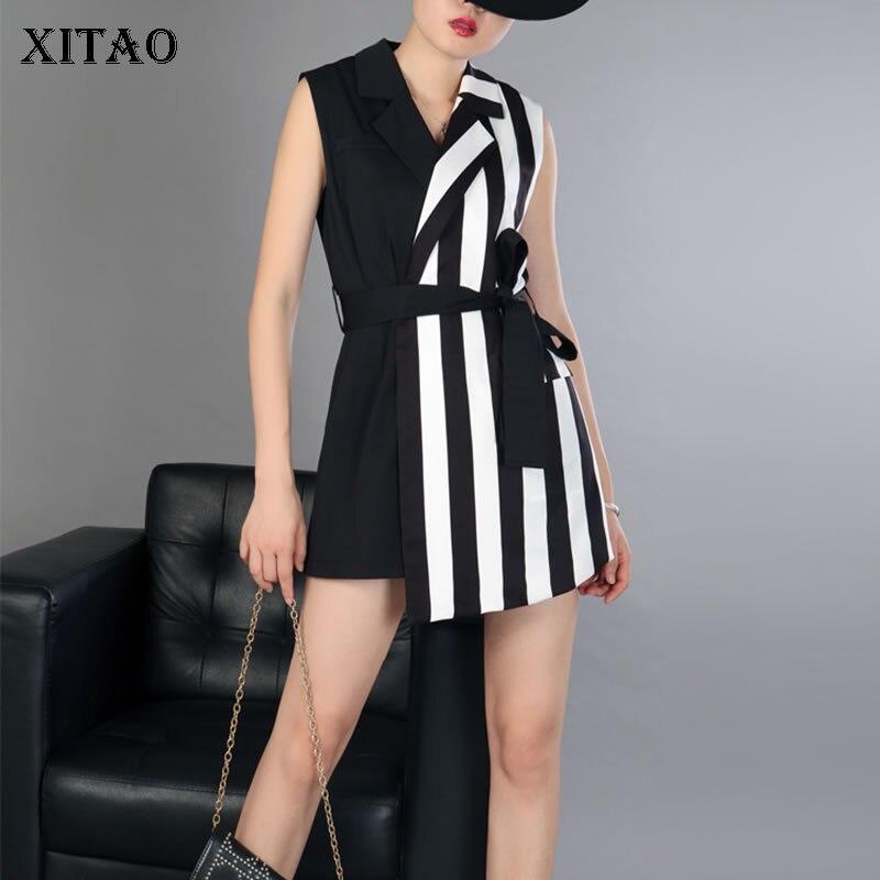 100% QualitäT [xitao] Europa 209 Sommer Mode Frauen Gestreiften Patchwork Verband Playsutis Weibliche Kerb Kragen Sleeveless Playsuits Cyw020