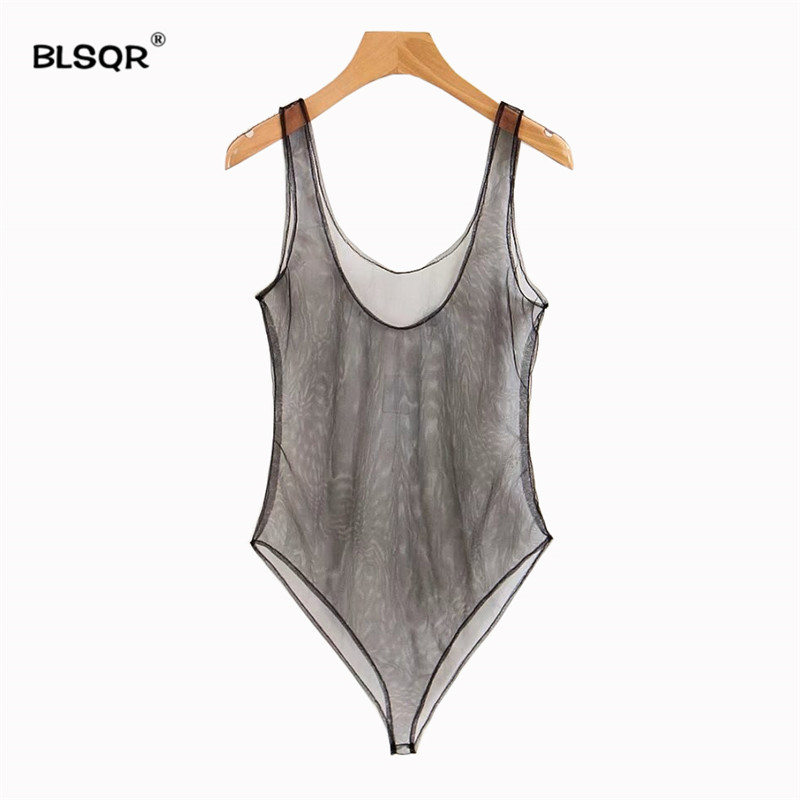 BLSQR Sexy Bodysuit Women Rompers Bodycon   Jumpsuit   Mesh Bodysuit Sheer See Through Bodysuits
