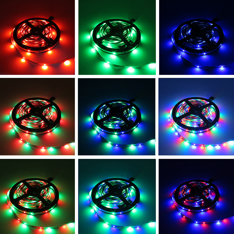 ZAHORIO LED Strip Light RGB LED 5050 SMD 2835 Flexible Ribbon RGB Stripe 5M 10M 15M tape diode DC 12V+Remote Control+ Adapter EU16