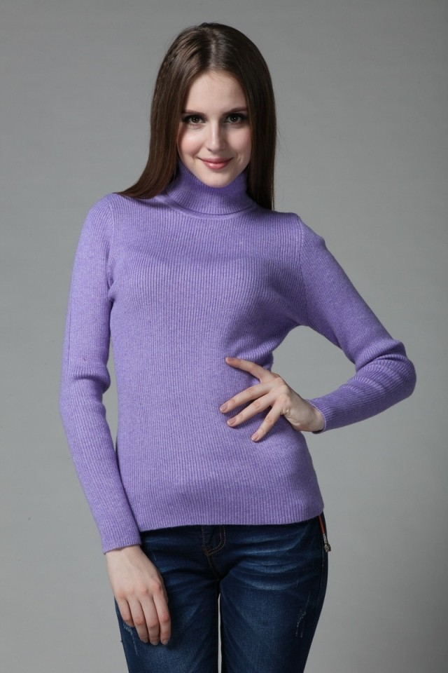 Online Shop Autumn and winter women's tight turtleneck sweater ...