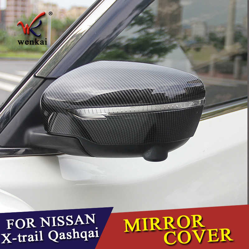 ABS Plastik Serat Karbon Kaca Sisi Cermin Penutup untuk Serena C27 Murano Z52 Qashqai J11 Rogue X-Trail T32