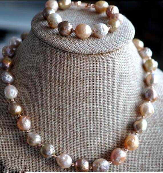 Bijoux fins chers mer du sud baroque multicolore collier de perles et bracelet boucle d'oreille