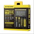 100% Original Nitecore D4 Digicharger LCD Seguro Global de Circuito Inteligente de iões de lítio 18650 14500 16340 26650 Carregador de Bateria