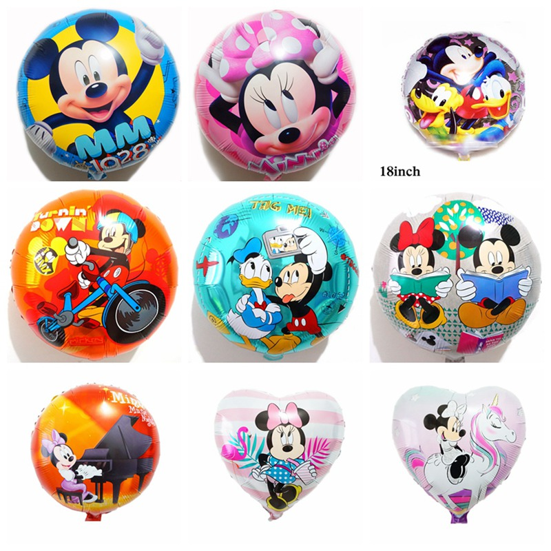 wholesale <font><b>100pcs</b></font> mickey birthday balloons 18inch round minnie helium balloons children toys for minnie mickey party balloons image