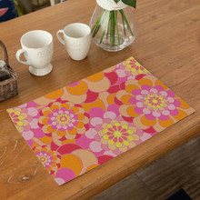 Hot Customizable Colorful Ethnic Group Flower Placemat Table Napkin Fabric Coaster Decoration Mat Kitchen Accessiories