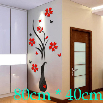 DIY Home Decor 3d Crystal Acrylic Vase Flower Sticker For living room-Free Shipping 3D Wall Stickers Living Room tree wall decal