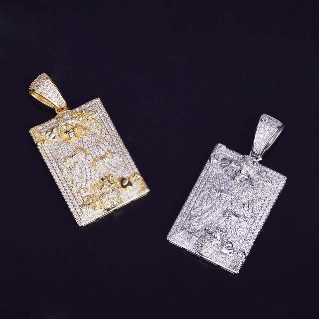 CUBIC ZIRCONIA KING OF HEARTS SKULL FACE PLAYING CARDS NECKLACE