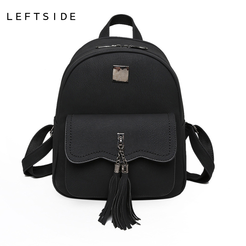 LEFTSIDE 2017 Women Tassel PU Leather Backpacks Lady Back pack High Quality Backpack Fashion Trend Cute School Bag For Girls