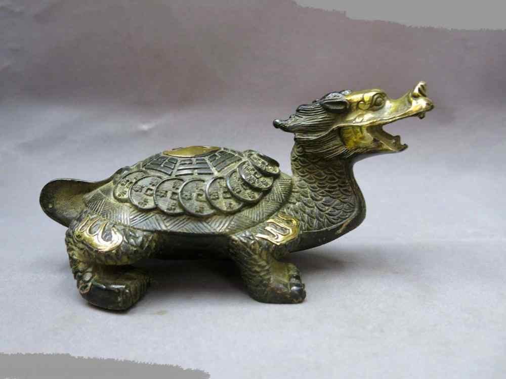 DS Китайский Фэн-Шуй бронзовый gild удачи деньги Восьми Триграмм Дракон Черепаха Статуя