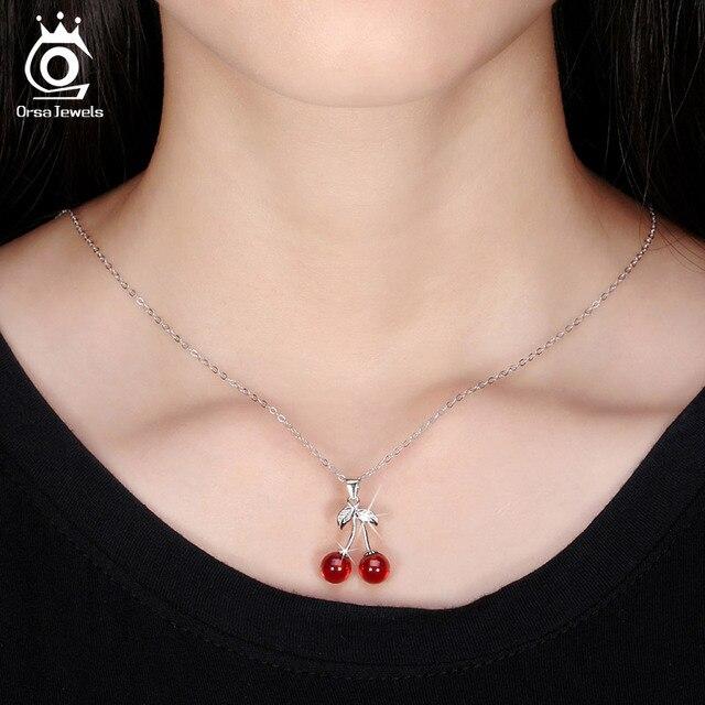 ORSA GIOIELLI 925 Sterling Silver Red Pietra Naturale di Ciliegio Collane con pendente per Le Donne Genuino Collana di Gioielli In Argento Regalo SN03