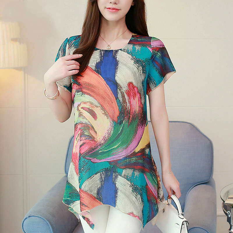Active Womens Tops Blouse Rainbow Print Blouses Large Size Long Shirts Female 2019 Vintage Short Sleeve Chiffon Blusas Femininas 4xl Limpid In Sight Women's Clothing