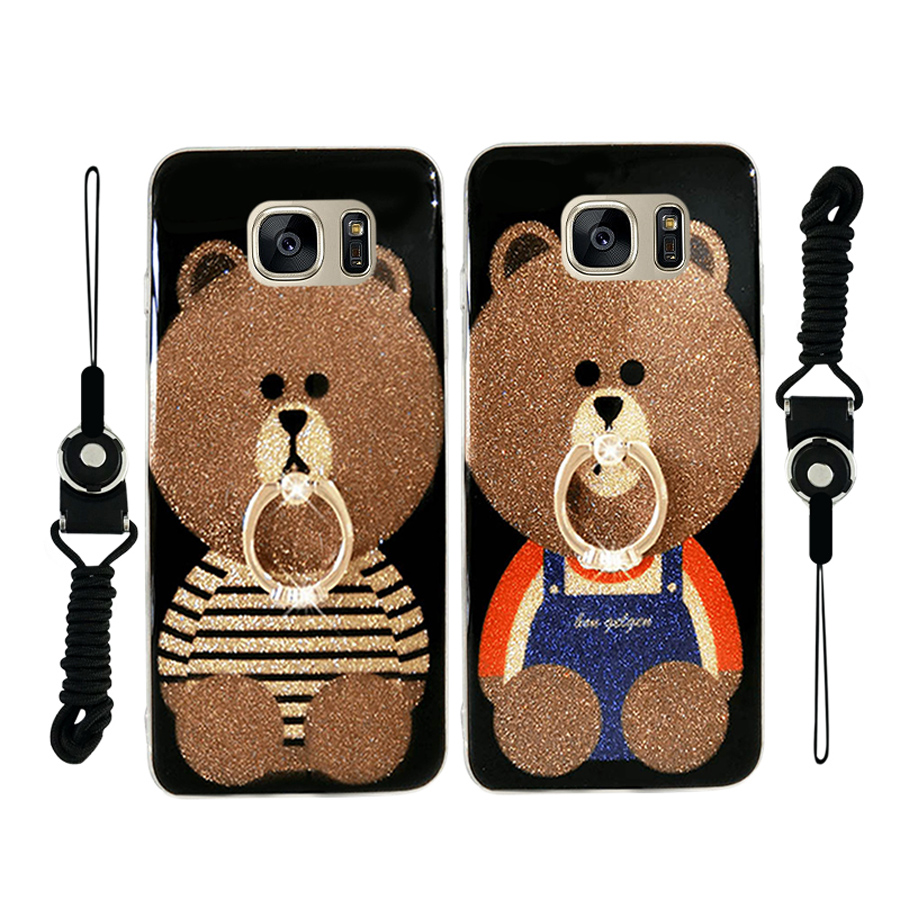 For samsung galaxy s7 s7edge case glitter powder smooth cartoon bear bling diamond ring holder tpu+pc hard phone back cover