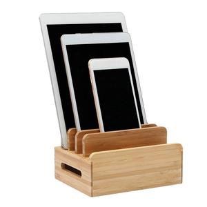 Image 2 - Multi Device Cords Organizer Stand Charging Station Bamboo Multifunction Mobile Phone Holder For iPhone For Smart Phone/Tablet