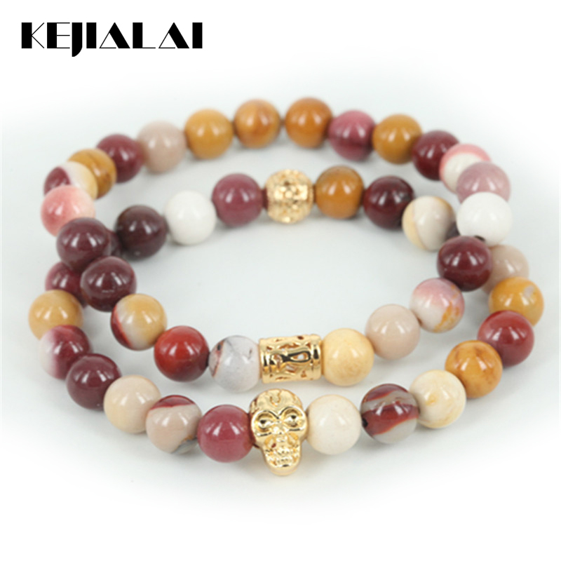 KEJIALAI 2pcs New Arrival Natural Egg Yellow Round Stone Beads Men Bracelet Beaded Skull Head Women Bracelet Fine Jewelry A Gift