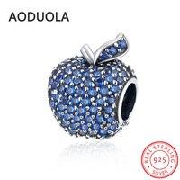 925 Sterling Silver Của Apple Bead với Full CZ Lỗ Tròn hạt Tính An Toàn Thời Trang DIY Quyến Rũ Phù Hợp Cho Pandora Bracelet và vòng c