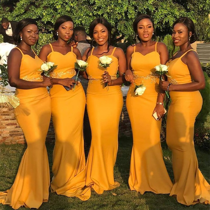African Spaghetti Straps Mermaid Yellow   Bridesmaid     Dresses   Long 2019 Gold Appliques Maid of Honor Satin Prom   Dresses   Party Gown
