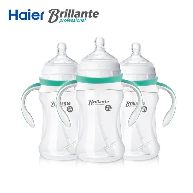 3 pçs/lote haier brillante mamadeira pp mamadeiras de plástico palha copo bebendo garrafa copos alças design 230 ml mamadeira