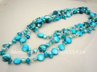 bohemian long necklace fashion fresh water pearl and shell necklace blue color summer beach style