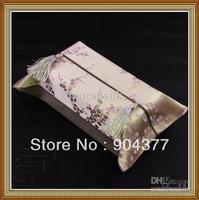 תיבות רקמות פנים מלבני פרח אלגנטי באיכות גבוהה סגנון אתני הסיני משי הבד טאסל קלינקס מכסה נשלף